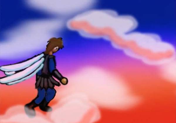 Day dreamin animation project still showing the hero flying through a sunset sky above the clouds.