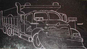 This is the eight foot version of the snowplow template traced on tar paper using a chalk out line.
