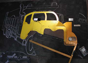 This is the constructed cab area of the truck laid out on the tar paper template