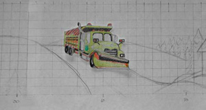 Small template of the truck on paper positioned in the winder landscape concept design.