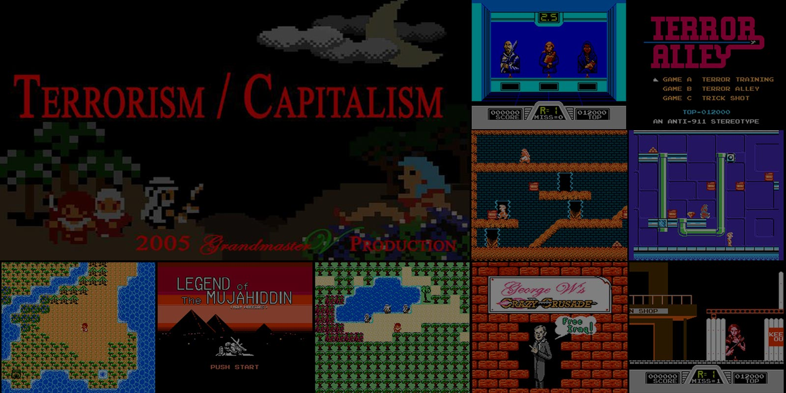 A collage of screenshots from my collective senior comp video game stills and front end mame card.