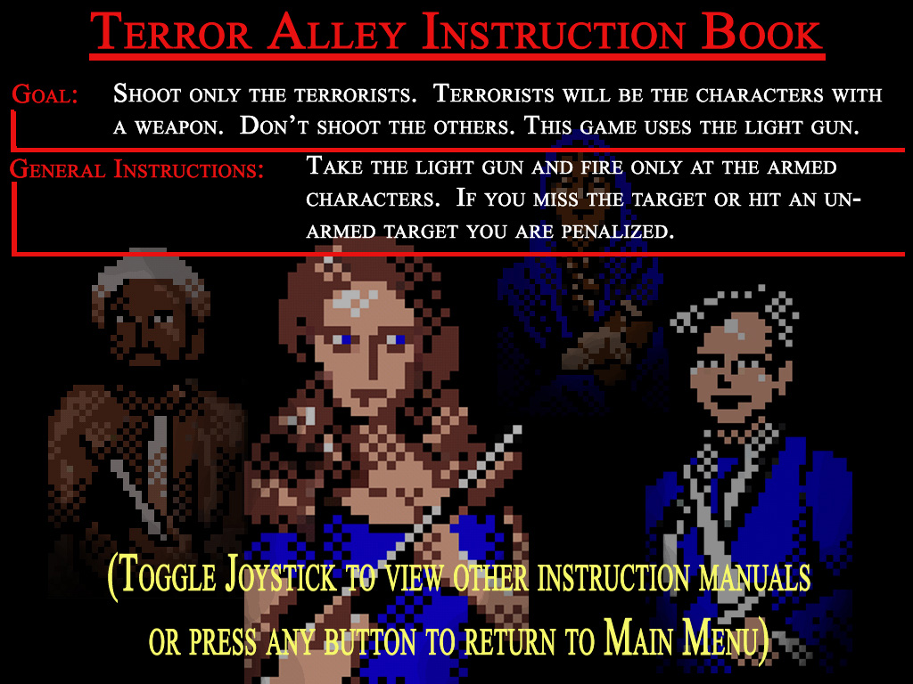 MAME instruction manuel card for the terror alley game.