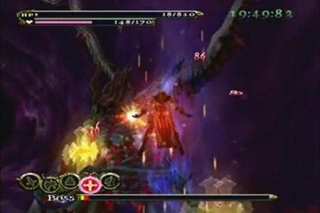 Trevor Belmont landing some blows on the final form of Dracula during the Boss Ruch mode using his Holy Cross move.
