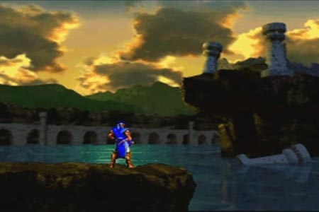 This is the ending scene of Castlevania Symphony of the night where Richter Belmont looks over the moat at the demolished Castle of Dracula.