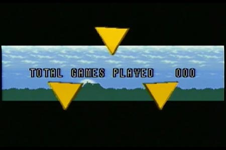The tail end of the credit scroll of Legend of Zelda a link to the past.  This shows the ending tally of games played as triple zero, indicating I did not die or power of the game once during my adventure.