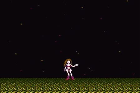 Metriod ending where Samus is seen with a space backdrop wearing a two piece bathing suit for beating the entire game in under an hour.