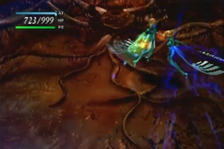Aya is battling Melissa as the bonus boss during the ex game in parasite eve to gain the second bonus ending of the game.