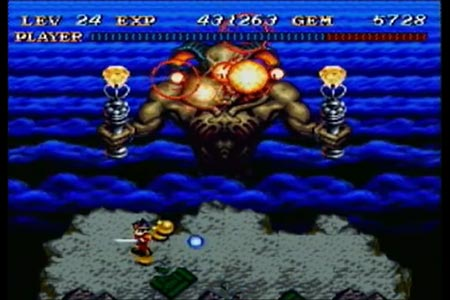 This screen shot shows death toll exploding after a fatal phoenix spell blow from the hero.  In this run of soul blazer I completed the game at the lowest level of 24, as seen at the top of the screen.  This is the lowest level you can have and still swing the soul blade which is required to cast the phoenix spell.