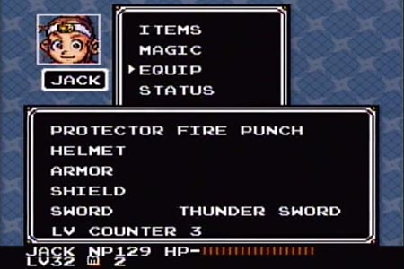 Super Ninja Boy equipment screenshot after beating robo Doc.  It shows the following manditory pieces of equipment: Fire Punch, Thunder Sword, and the Level 3 counter.  The helmet, armor and shield are empty.  At the bottom you can see where the last battle leveled my character up to 32.
