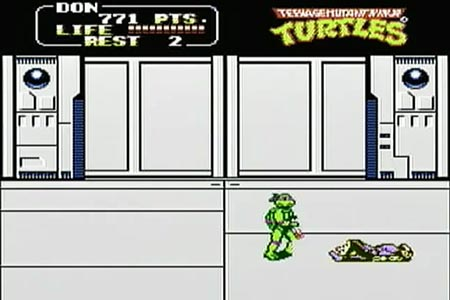 Donatello puts the finishing jump kick on shredder at the end of teenage mutant ninja turtles the arcade game for the nes. Shredder is shown laying on the floor.