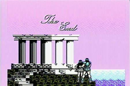 The ending screenshot from the Battle of Olympus.  It shows the hero with his arm around the heroine and they are standing beside a temple watching the sunrise.