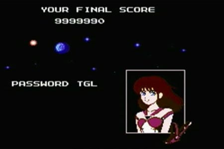 This is the final screen seen after beating the Guardian Legend.  You see a galaxy backdrop with a female character portrait in the lower right corner.  It shows my final score to be maxed at 9,999,990 and the bonus password of TGL.