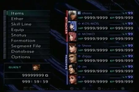 I performed a completionist run with zenosaga III and this still shows the main party all maxed out along with the money and game timer because the process took well over 1,000 hours.