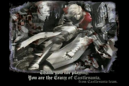 CastleVania Ending Screenshot.  It says, 'Thank you for playing. You are the Crazy of Castlevania'