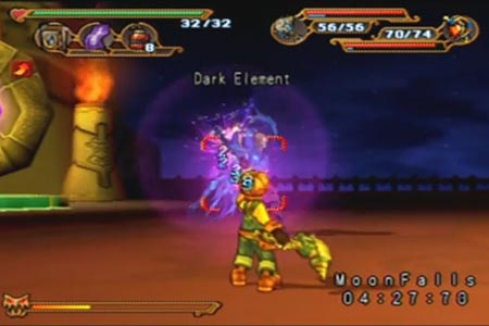 Dark Cloud Screenshot with Max Battling the Dark Element with the supernova gun.  You can see he has only 32 Hit Points.