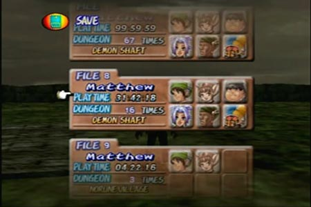 Dark Cloud Screenshot showing a save spot that has 16 dungeon trips recorded and the Demon Shaft as the current area.