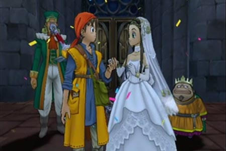 Screenshot from the second ending of Dragon Quest 8.  This is the one where your main character gets to marry princess Medea at the end after getting the argon ring.