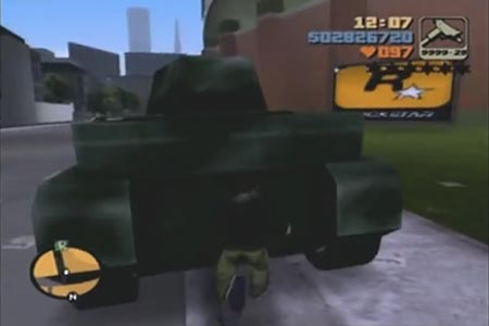 A still showing Claude pushing a tank up the street with his bare hands.