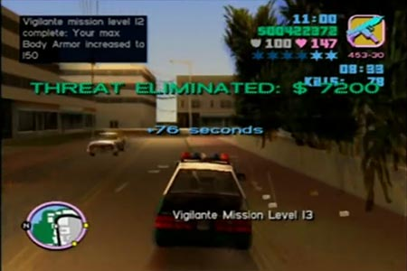 Grand Theft Auto Vice City Screenshot of the completion of the 12th vigilante mission.