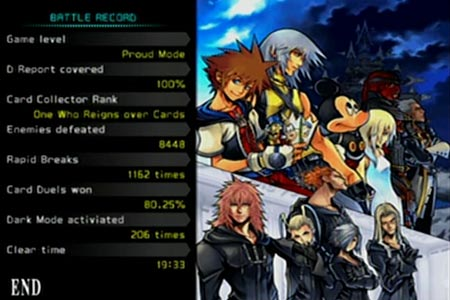 Status screen after completing the game with riku.  It shows my D Reported is covered 100%