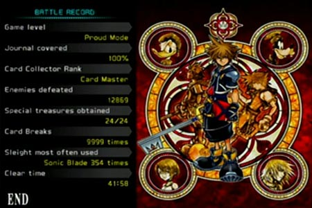 Status screen after beating kingdom hearts chain of memories with 100% journal completion.