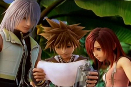 Kingdom Hearts 2 ending scene.  Riku, Sora, and Kari are reading a message from king Mickey.