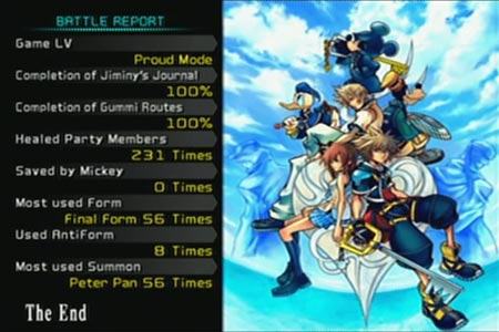 Kingdom Hearts 2 ending screen showing 100 percent completion on proud mode which includes Jiminy's Journal and Gummi Routes.