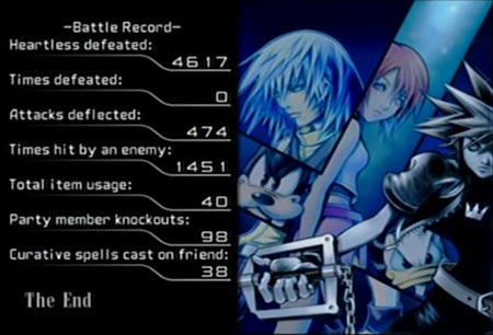 Screenshot from Kingdom Hearts.  It shows the final stats when I completed the game on expert mode without getting any defeats.