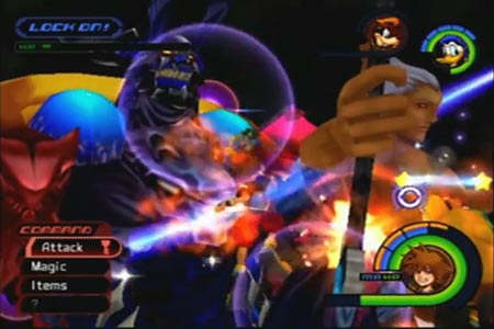 Sora battling the final form of Ansem on expert mode in Kingdom Hearts.