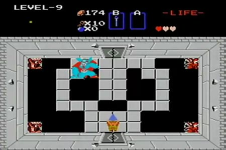 The legend of zelda screenshot showing a green link in Ganon's room holding up a triforce.  As you can see in this screenshot link has no sword and only three hearts of life.  This is the conclusion of my no sword, no rings, 3 hearts, walkthrough without loosing a single life or restarting the game in the first quest.