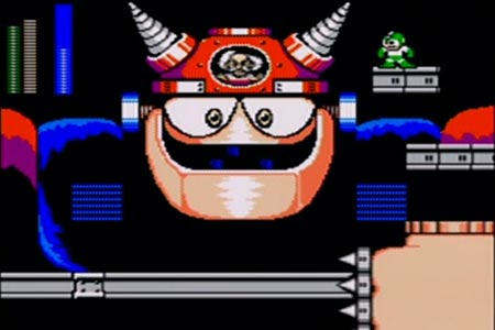 Mega man is seen standing upder the final wily battle involving the giant gamma bot.  With half of its life gone the mini head is replaced by the one whihc houses Dr. Wily in his bubble.