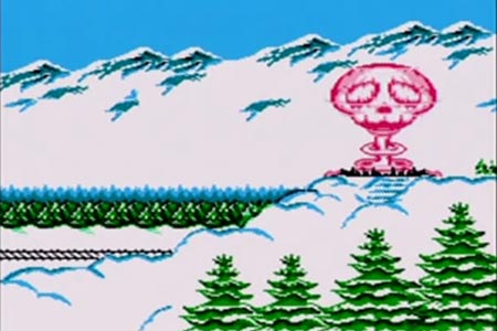 Mega Man 4 Ending Screenshot.  Dr. Wily;s castle has blown up after the final battle.