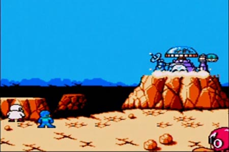 Mega Man 5 Ending Screenshot.  Dr. Wily's castle has blown up after the final battle.