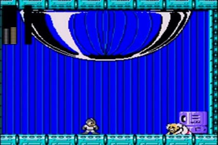 After blowing away the final alien-like form of Dr. Wily Mega man is now standing over a begging Dr. Wily in a lit up control room.