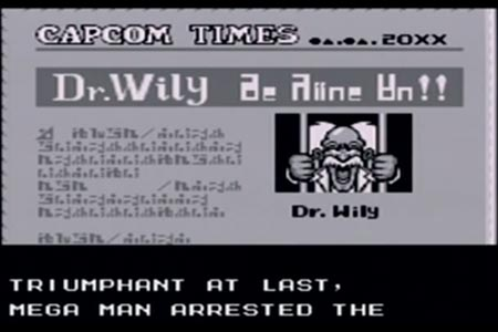 Mega man 6 ending where Dr. Wily is shown on the front page of the paper after being defeated by mega man.