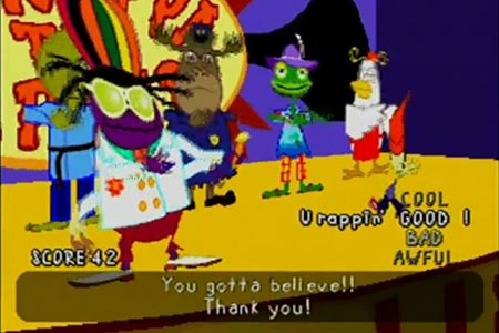 Parappa and his other instructors are seen on the stage at the end of the game immediately after the conclusion of the
