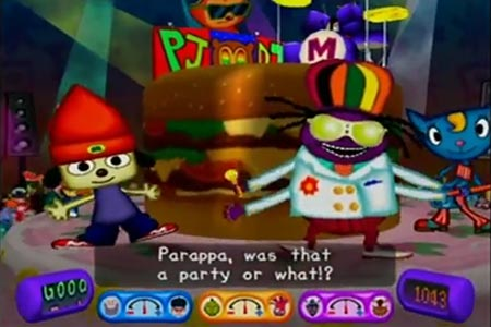 Screenshot of the burger performance stage where all of the masters are present with Parappa after the conclusion of the 'Final Party' concert stage.