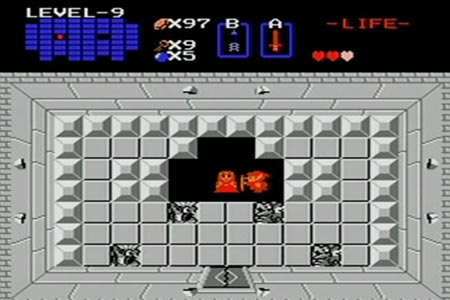 A red link is positioned next to the now freed princess in the room above gannon with only three hearts and a wooden sword shown