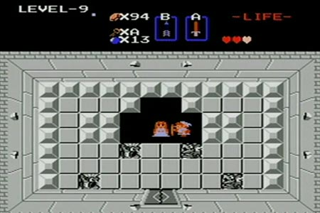 Link can be seen in the princesses room after defeating gannon in the second quest.  You can see he has only three hearts and a wooden sword as part of the challenge.